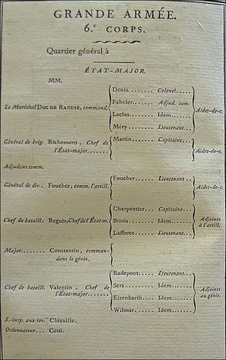 Etat-major du 6ème corps de la Grande Armée. SHD : emplacement des troupes de l'Empire au 1er octobre 1813