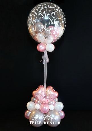 Feier bunter Hochzeit grau rosa weiß Bubble Ballon Geschenk Aachen Düren Köln