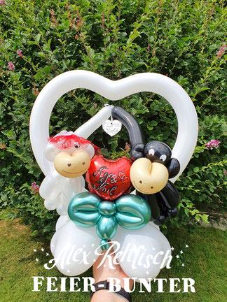 Geschenk Hochzeit Geldgeschenk Affen Brautpaar Ballons Aachen Düren Köln