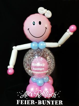 D 005 - Türsteher rosa: Hochwertige Ballonfigur mit individuell angefertigter Aufkleber Beschriftung (in verschiedenen Farben & Ausführungen möglich, ohne Aufkleber 35,90€) incl. Aufklebern 44,90€