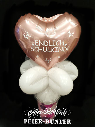 Feier bunter Alex Rehfisch Endlich Schulkind Einschulung Geschenk Ballon Vandy Cup Konfetti Geschenk