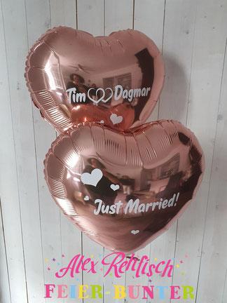Feier bunter Geschenk Deko Hochzeit rosegold Helium Ballon personalisiert Namen just married Aachen Düren