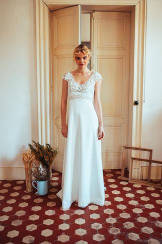 Robe de mariée guipure Joséphine par Elsa Gary fabrication française Saint Germain en Laye Yvelines 78