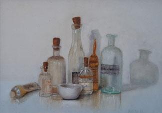 flesjes in oude lijst 32-24cm