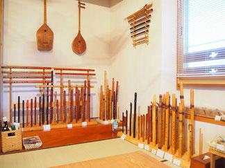 オリジナル笛の展示コーナー
