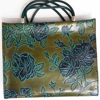 Designer Handtasche Rosen grün -türkis,  auch in anderen Farben und Designs möglich...