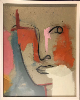 Regard - 40/50 cm - Décembre 2019 Acrylique sur morceau de toile encadrée