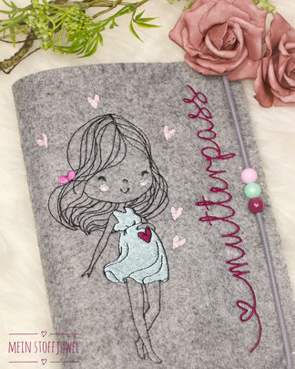 Mein Stoffjuwel: Mutterpasshülle grau