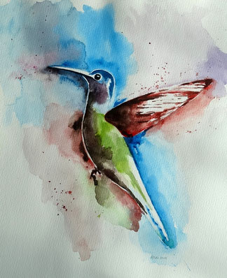 "Nr. 42 / WALTRAUD MUTH / ""Kolibri"", Aquarell auf Papier, 40x50cm, 120,-€"