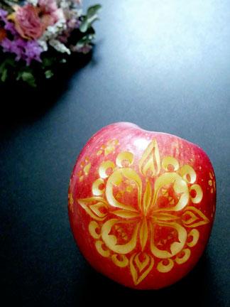 フルーツカービング りんごカービング 猫デザイン
