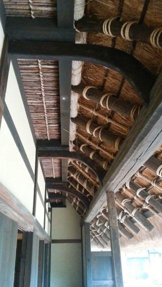 内田家住宅 エンガワの見上げ 曲り材の繋ぎ梁