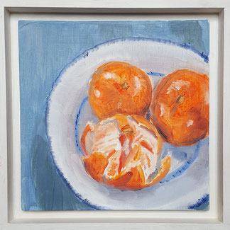 """Satsumas"" S01o 20.5x20.5 oil on canvas board, Framed."