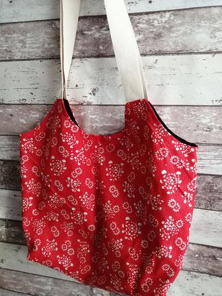 Shopper Tasche Einkaufstasche Einkaufsbeutel Blumen geblümt Beutel handgemacht Handarbeit handmade SaSch Selbstgefertigtes aus Schwaben
