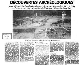 Presse-Océan - Découvertes archéologiques - 1994