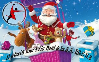 Affiche de Noël pour la boutique du club de la JA Isle Handball