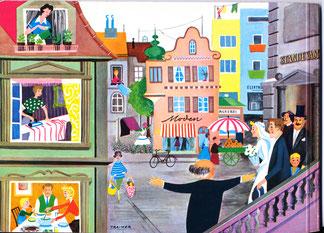 """Mit der Hochzeit fängt es an ... Haushaltsbuch und Eheratgeber der Zentralsparkasse der Gemeinde Wien um 1958. Rückseite """"Hausfrauenschicksal""""."""