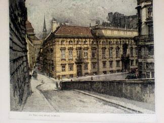 Haus der Mode Wien (Vienna, Austria) Palais Lobkowitz. Radierung Luigi Kasimir 1940.