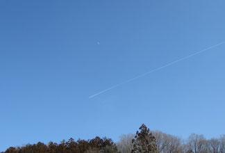 白昼の月と飛行機雲