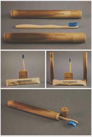 Starterset Zahnbüste Etui Halterung Bambus