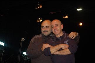 Caro letrista del himno y Morcillo el día del ensayo general el 6 de marzo en el Teatro Tívoli