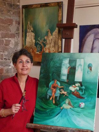 Fitnat K. dans son atelier fin 2013.