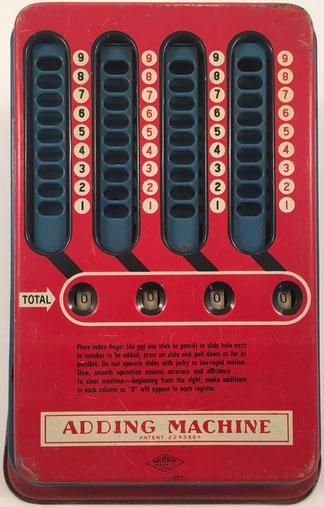 WOLVERINE Adding Machine, fabricada por Wolverine Supply and Mfg. Co., Pittsburgh (Pensilvania, USA), año 1950, 16x22x11 cm