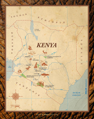 Carte du Kenya - Map of Kenya