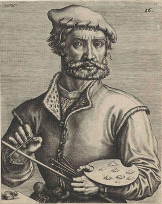 Pieter Coecke van Aelst, Alost 1502 - Bruxelles 1550, Portrait gravé par Johannes Wierix, 1572 /Rijksmuseum /cc. Wikipedia Public domain