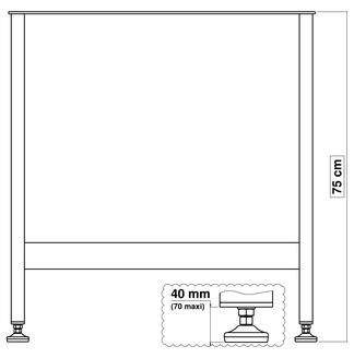 pied de table en métal pour cuisine 75 cm x 70 cm