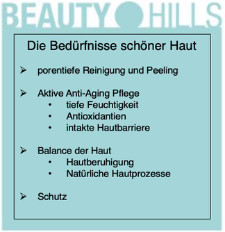 Beauty Hills, Kosmetik, Bedürfnisse schöner gesunder Haut