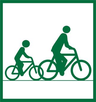 Das neue Streckenpiktogramm bezeichnet Radrouten, die auch für Schüler und Familien geeignet sind. Grafik: i.n.s. - Institut für innovative Städte (2017)