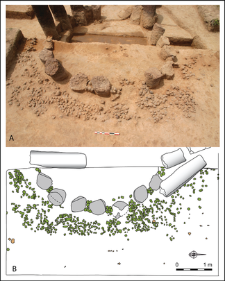 Fig. 4/ Monument XIX : level of collapsed dry stone walls interspersed between each monolith (A) and plan showing the presence of wooden structures (B).