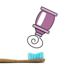 Zahnbürste aus Bambus mit Zahnpasta
