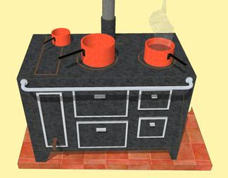 Cuisinière à bois avec trois casseroles en cuivre