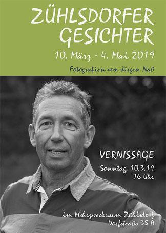 """Einladung zur Vernissage Fotoausstellung """"Zühlsdorfer Gesichter"""" von Jürgen Naß"""
