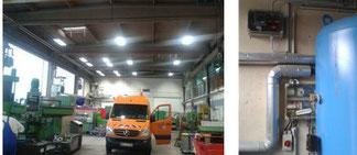 Foto der neuen Hallenbeleuchtung  und Kompressorsteuerung in der Werkstatt