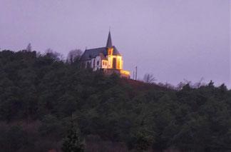 Die letzten und einzigen Sonnenstrahlen heute an der Michaelskapelle/Burrweiler