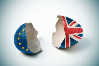 broken eggshell with Union Jack and EU flag, Brexit on March 29, 2019, Hard Brexit