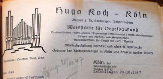 Briefkopf von Orgelbau Hugo Koch nach 1945