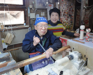 * Seiichi Okazaki and his wife at her workshop in Miyagi