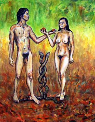 Adam und Eva, Symbolik der Schlange und Frucht. Nackter Mann und nackte Frau