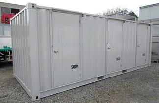 10トン車積載サイズのコンテナを3つの個別収納スペースに改造したタイプ(「アイデア」の通販サイトより)