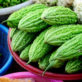 Bittergurke – auf einem Markt in Vietnam – Bittermelonen enthalten gesunde Bitterstoffe