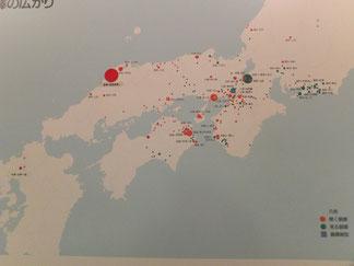 銅鐸文化圏の広がり(野洲市立銅鐸博物館展示パネル)