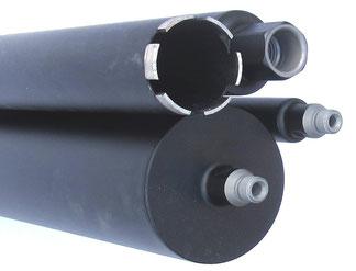 kernboor of diamantboor dunwandig diameter 18mm tot 132mm 400mm nuttige lengte aansluiting 1/2gas of 5/4unc voor nat te boren in beton en gewapend beton