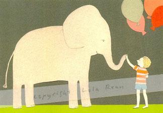 Postkarte Elefant, Lola Renn