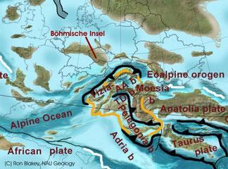 """Geotektonik des Alpenraums im Campan (75 Ma) Eingezeichnet die """"Böhmische Insel"""""""