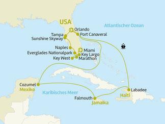 Karibik Kreuzfahrt mit Oasis of the Seas November Januar Februar März mit Rundreise Florida