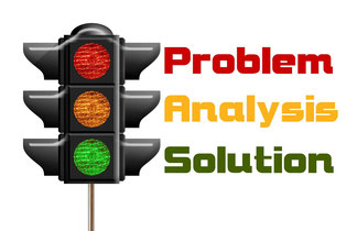 Verkehrs-Ampel für Problembehandlung, Analysieren und Lösung finden.