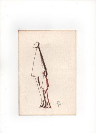dessin de recherche avant sculpture - Personnages - Caco 1995